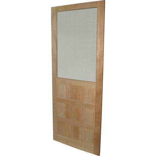 Snavely 36 In. W. x 80 In. H. x 1-1/8 In. Thick Stainable Natural Solid Pine Wood 9-Panel Screen Door