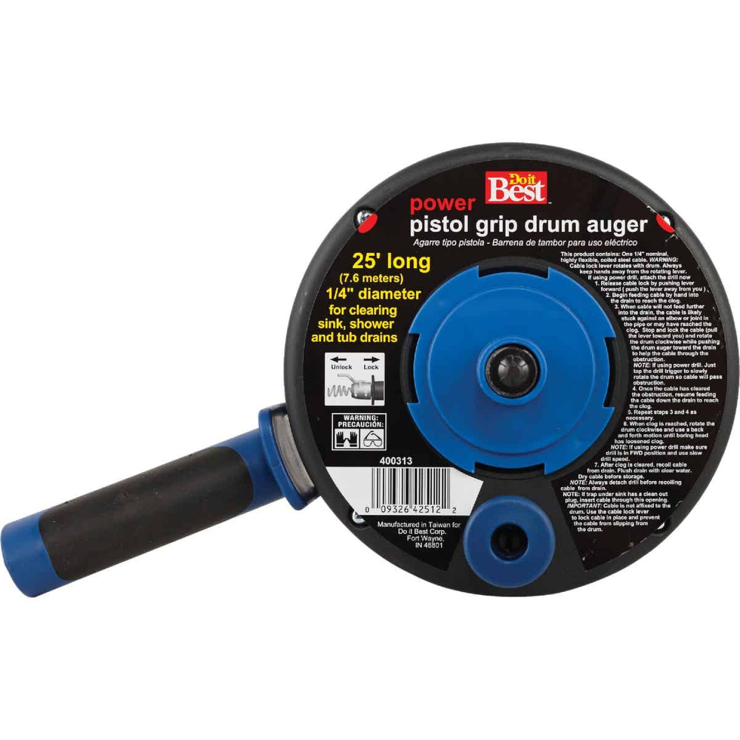 Do it Best 1/4 In. x 25 Ft. Polymer Drum Drain Auger Image 2