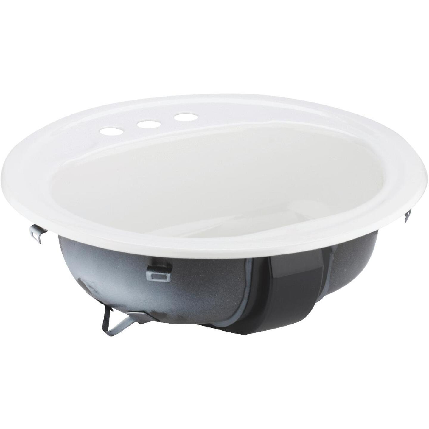 Briggs Anderson Round Drop-In Oval Bathroom Sink, White Image 1