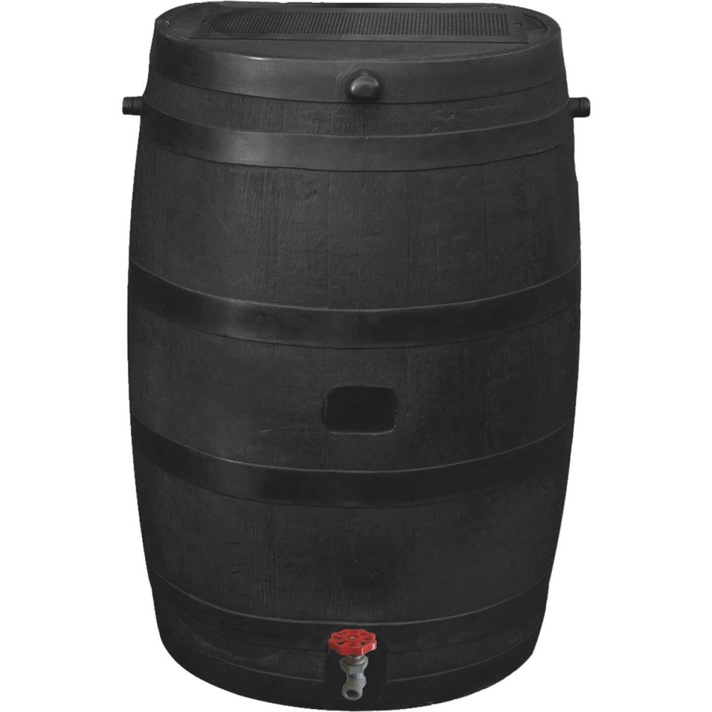 RTS Home Accents ECO 50 Gal. Black Recycled Polyethylene Rain Barrel Image 1